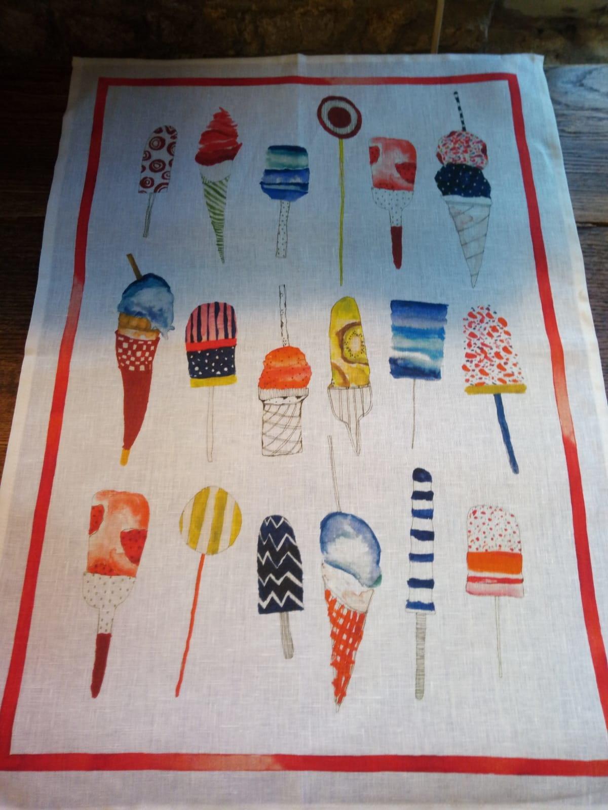 """Torchon """"glaces"""" tour rouge"""