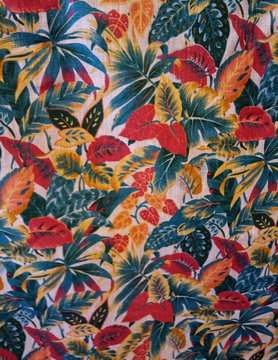 Coloured foliage fabric