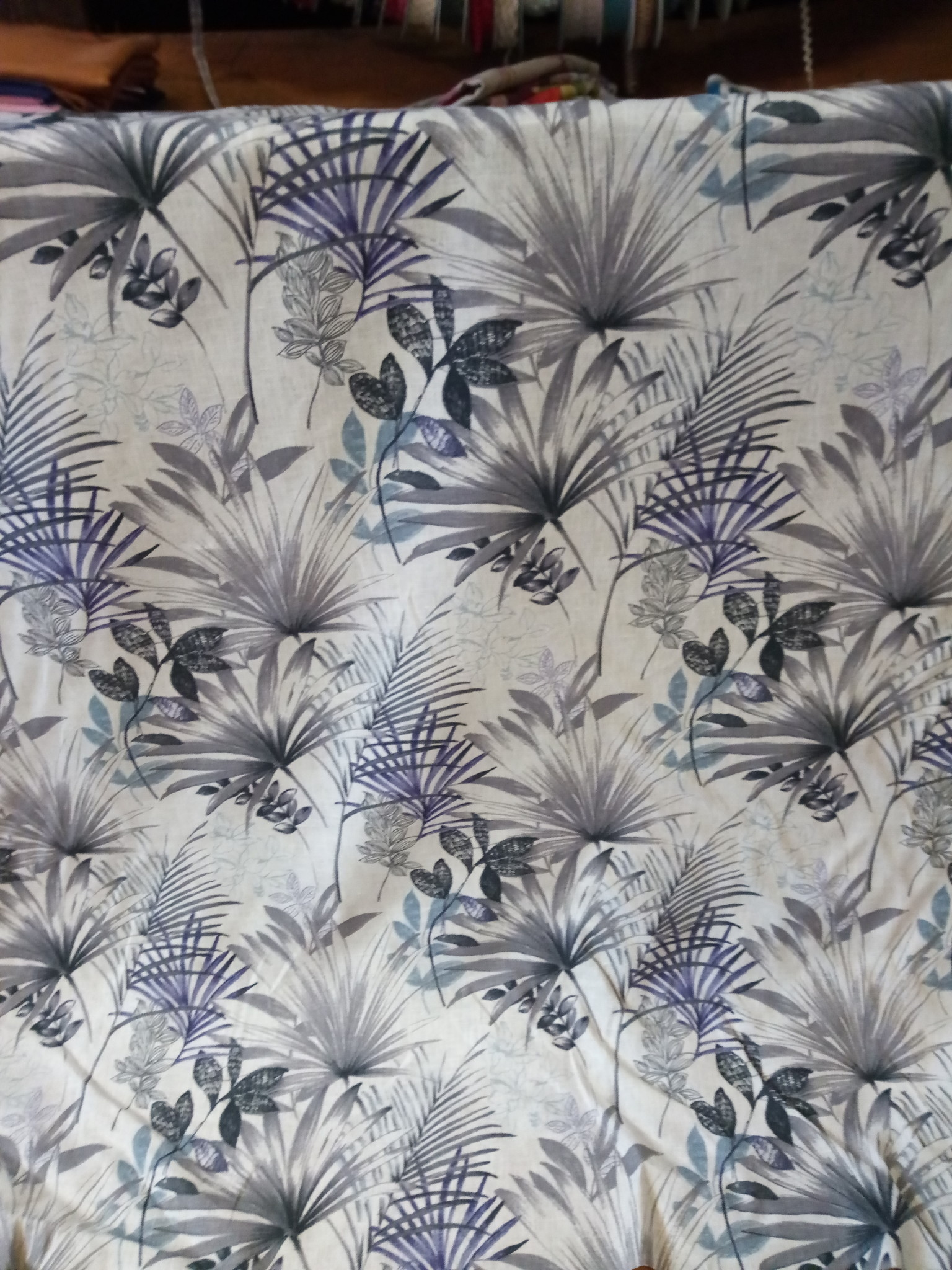 "tissu  "" palmier violet """
