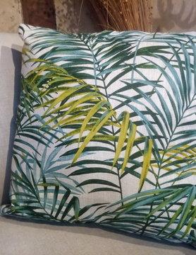 """Le grenier du lin coussin carré """" palmier """""""
