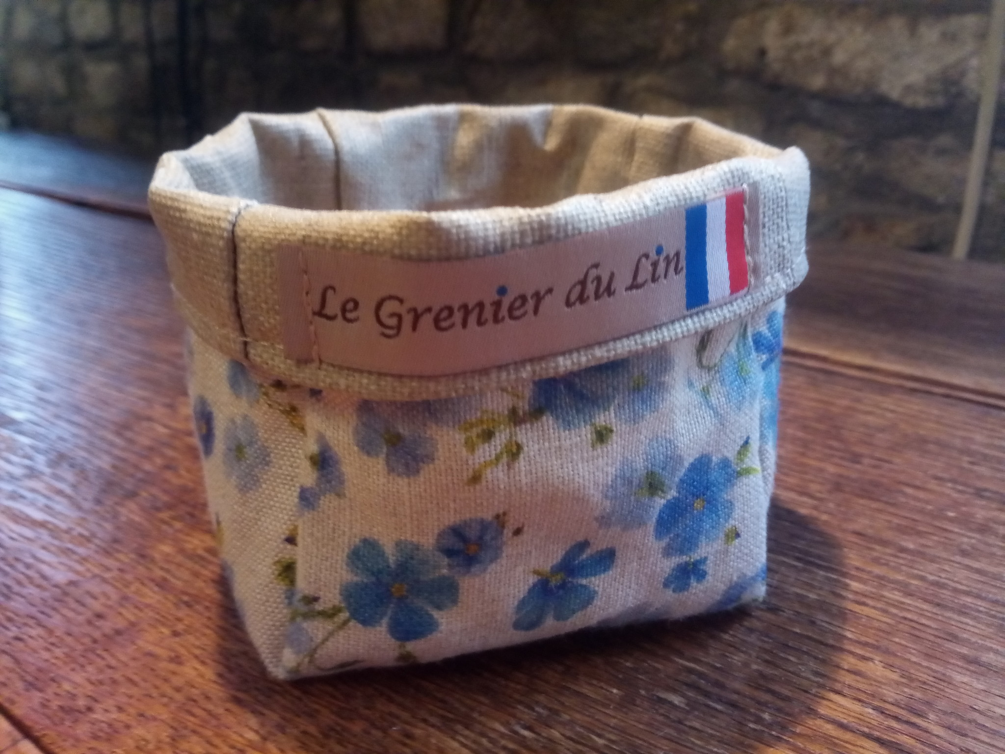 "Le grenier du lin Small ""linen flower"" pouch"