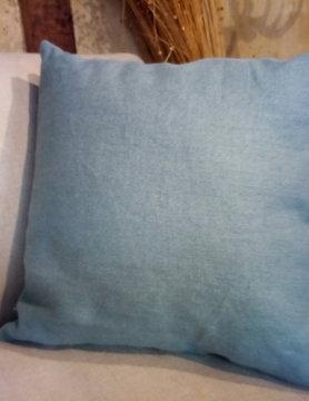 "Le grenier du lin coussin carré "" bleu océan """