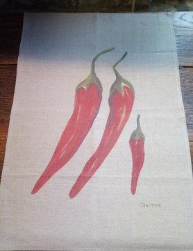 """Le grenier du lin torchon """" piment """""""