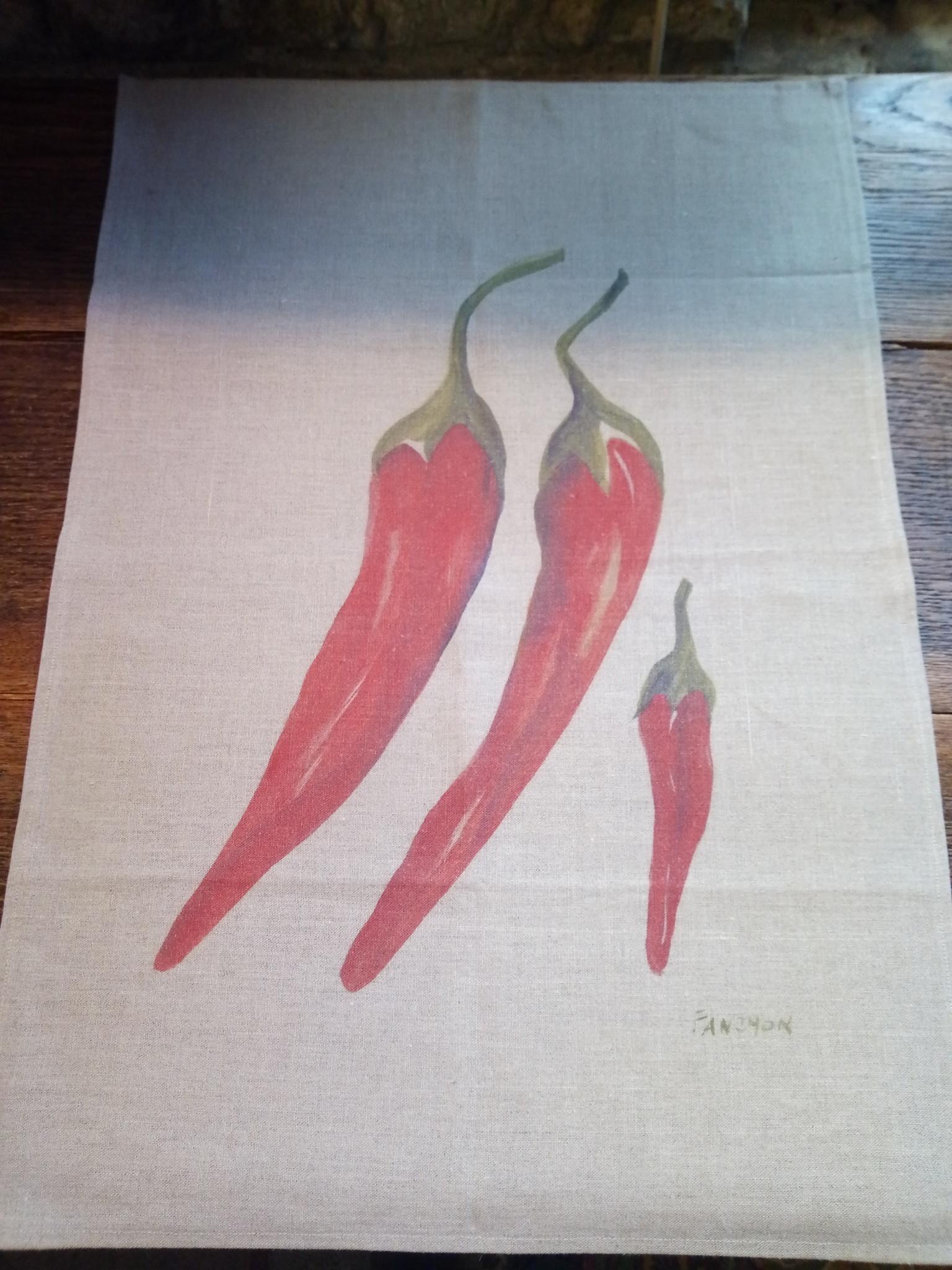 Le grenier du lin Chili-paprika-schaalhanddoek