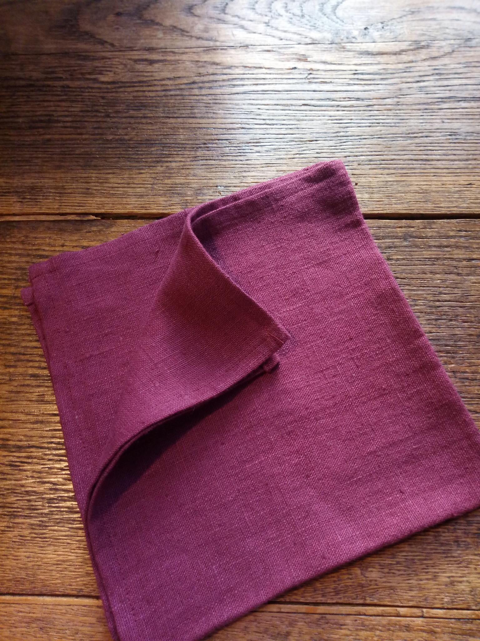 """Le grenier du lin serviette de table """" lie de vin """""""