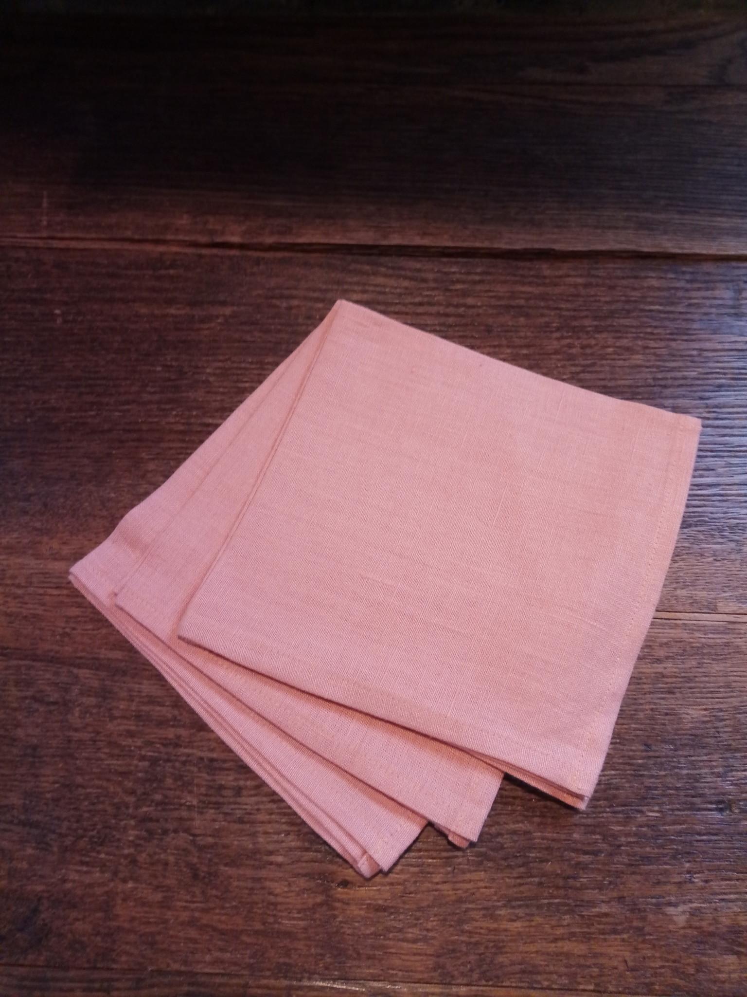 """Le grenier du lin serviette de table  """" saumon """""""