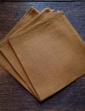 "Le grenier du lin Serviette de table  "" ocre """