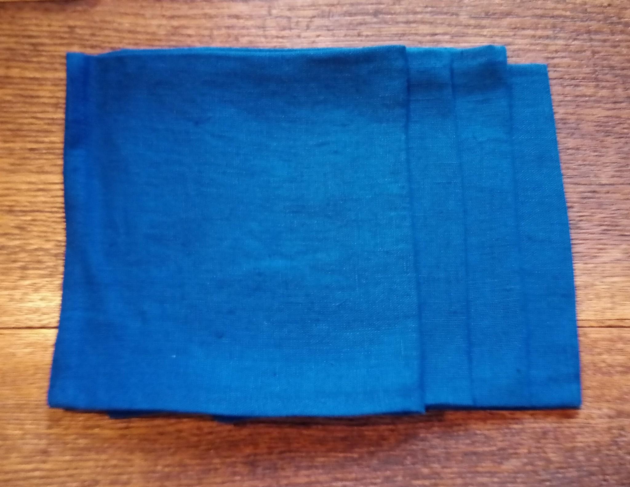 """Le grenier du lin serviette """" bleu roi """""""