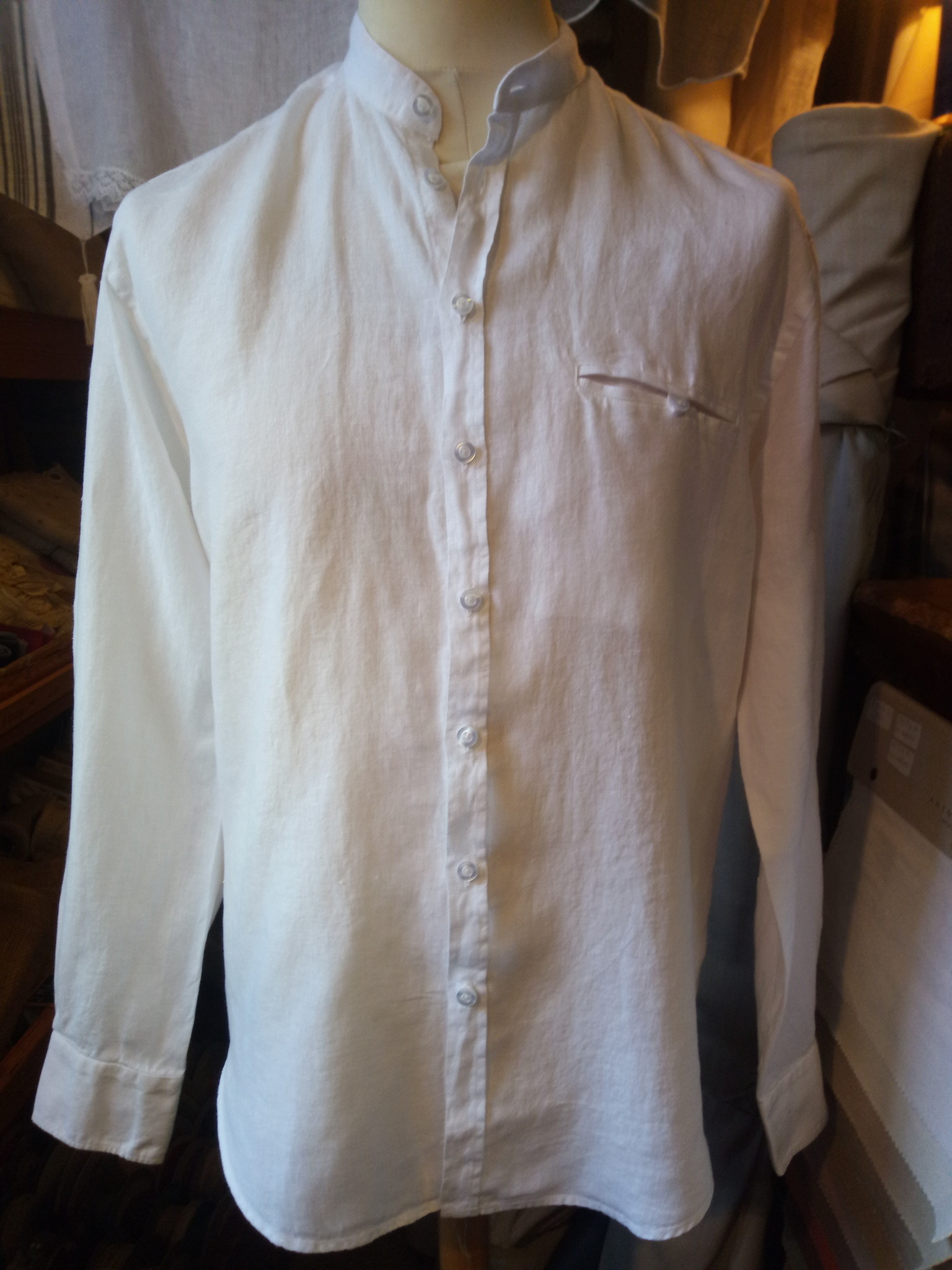 Le grenier du lin chemise col moa manches longues