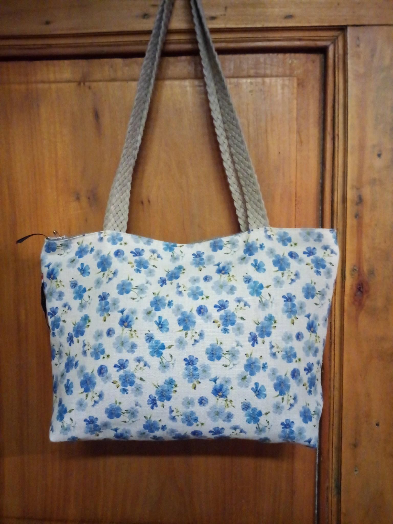 """Le grenier du lin Handbag in linen """" fleur de lin """""""