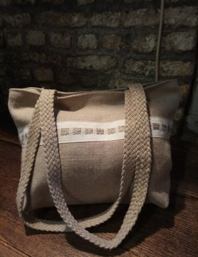 "Le grenier du lin Linen handbag with ""natural"" braid"