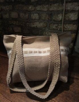 "Le grenier du lin sac "" naturel avec galon """