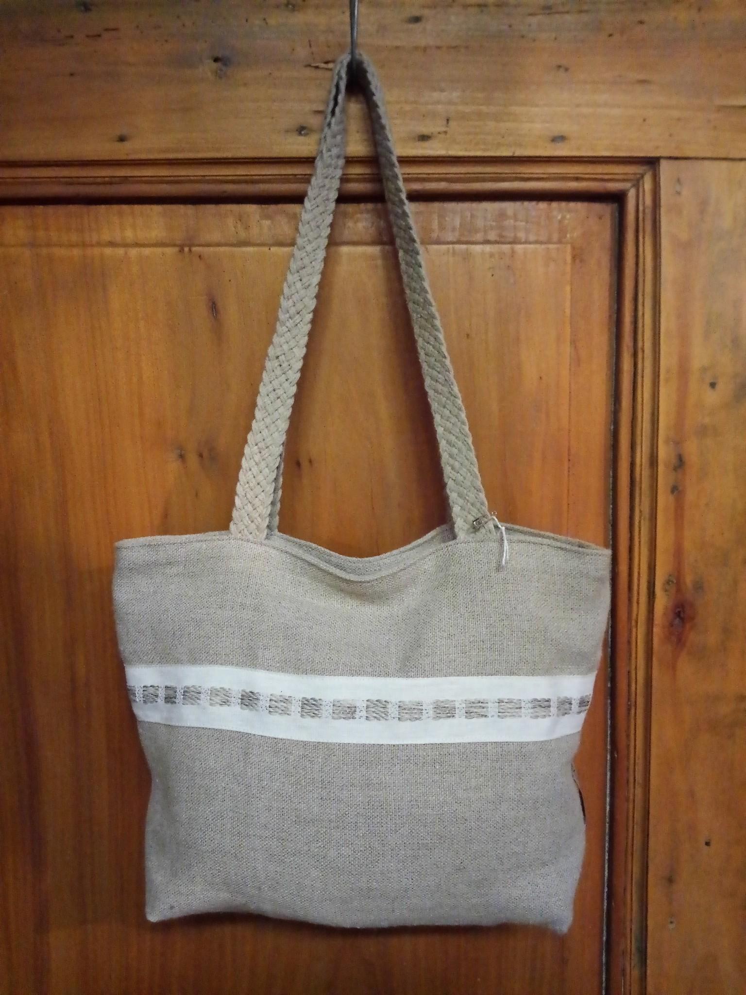 "Le grenier du lin sac avec galon "" naturel """