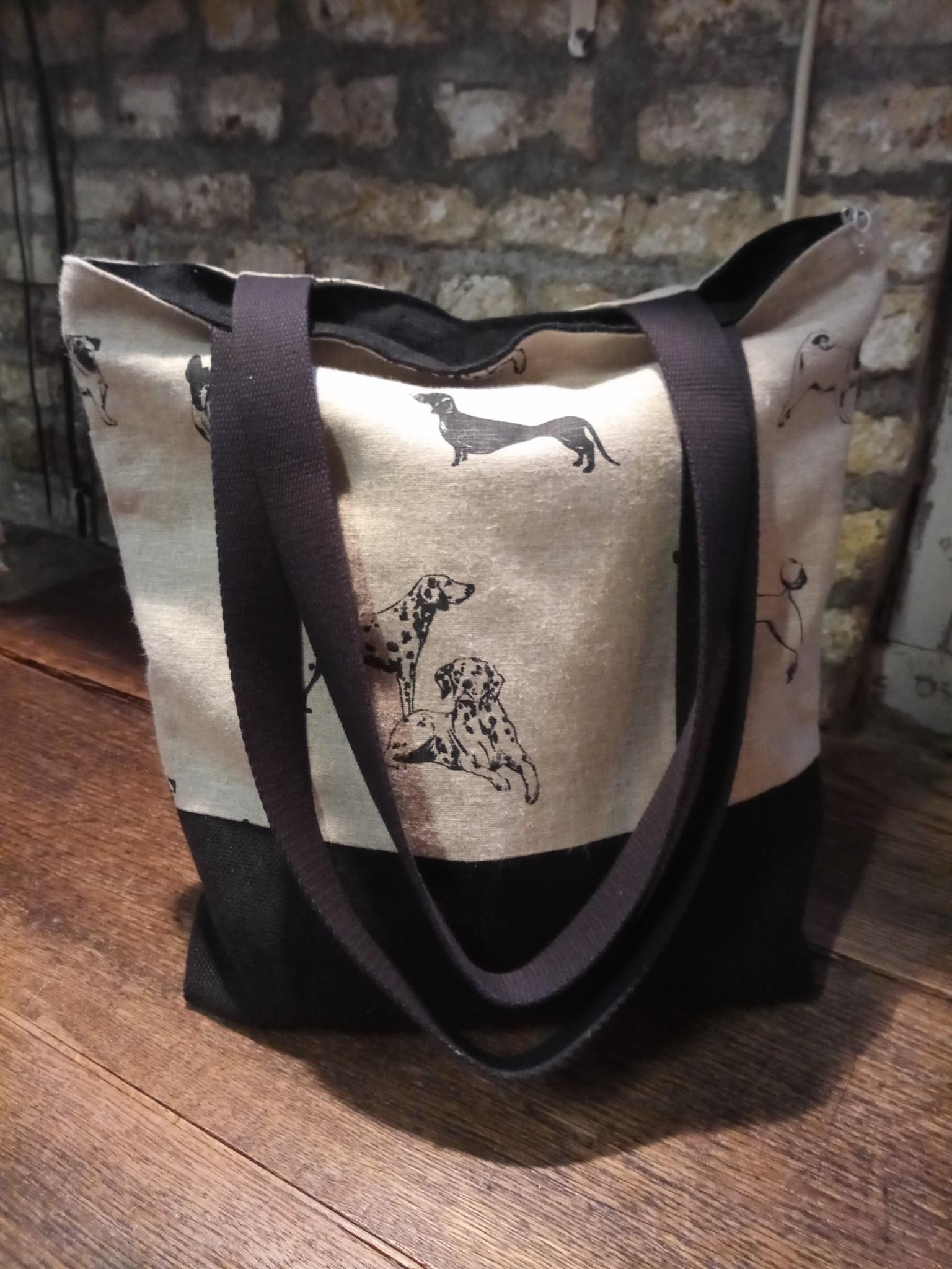 "Le grenier du lin sac bicolore "" chien """