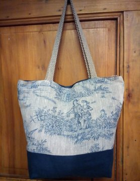 "Le grenier du lin Two-tone linen handbag ""toile de jouy"""