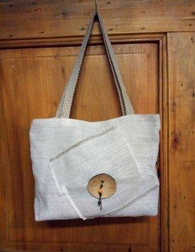 """Le grenier du lin Natural"""" coconut button bag"""