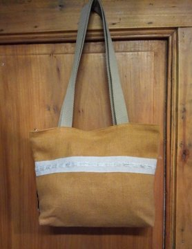 "Le grenier du lin Linen handbag with ""ochre"" braid"