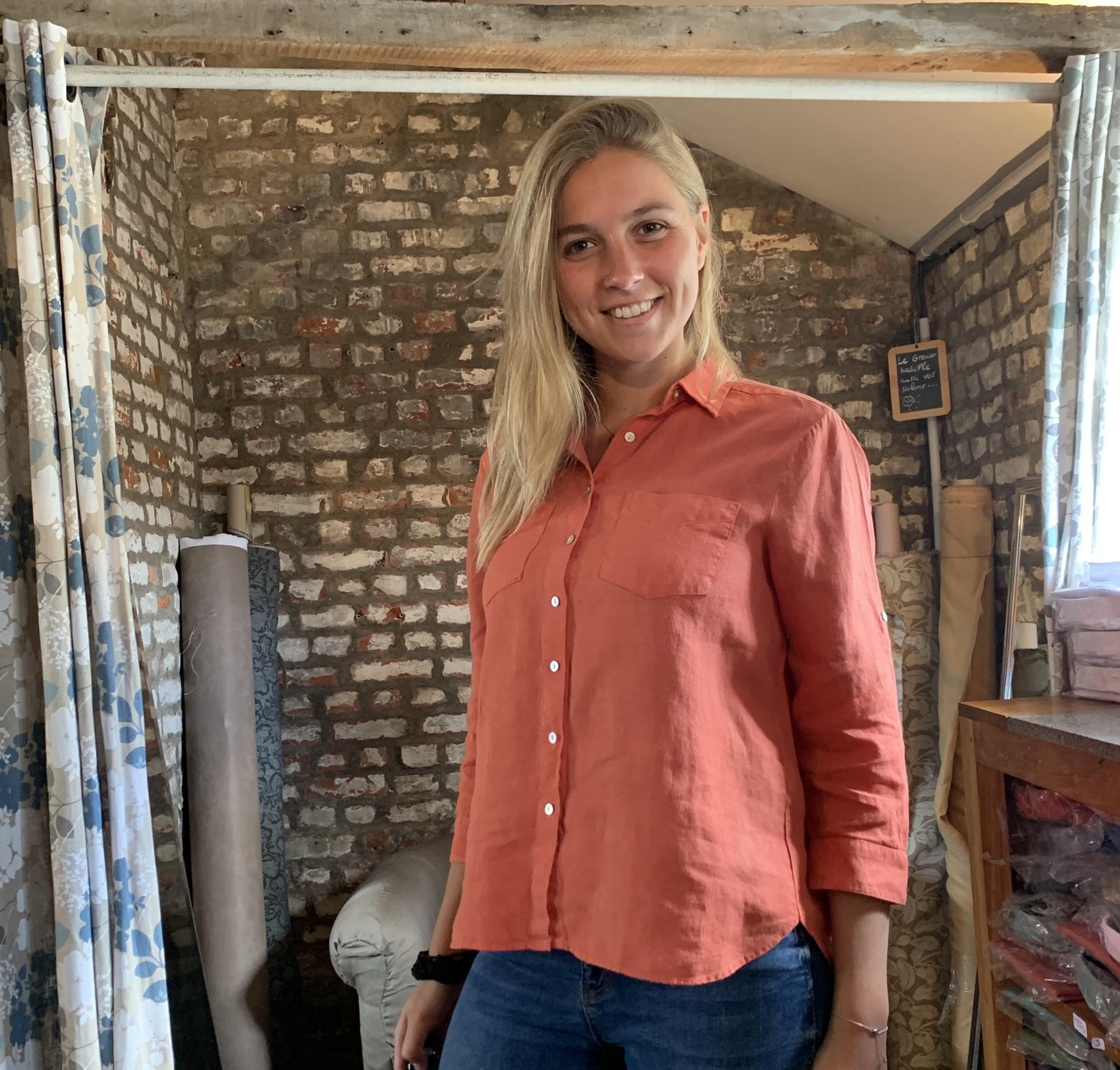 Le grenier du lin Chemisier Sarah Abricot