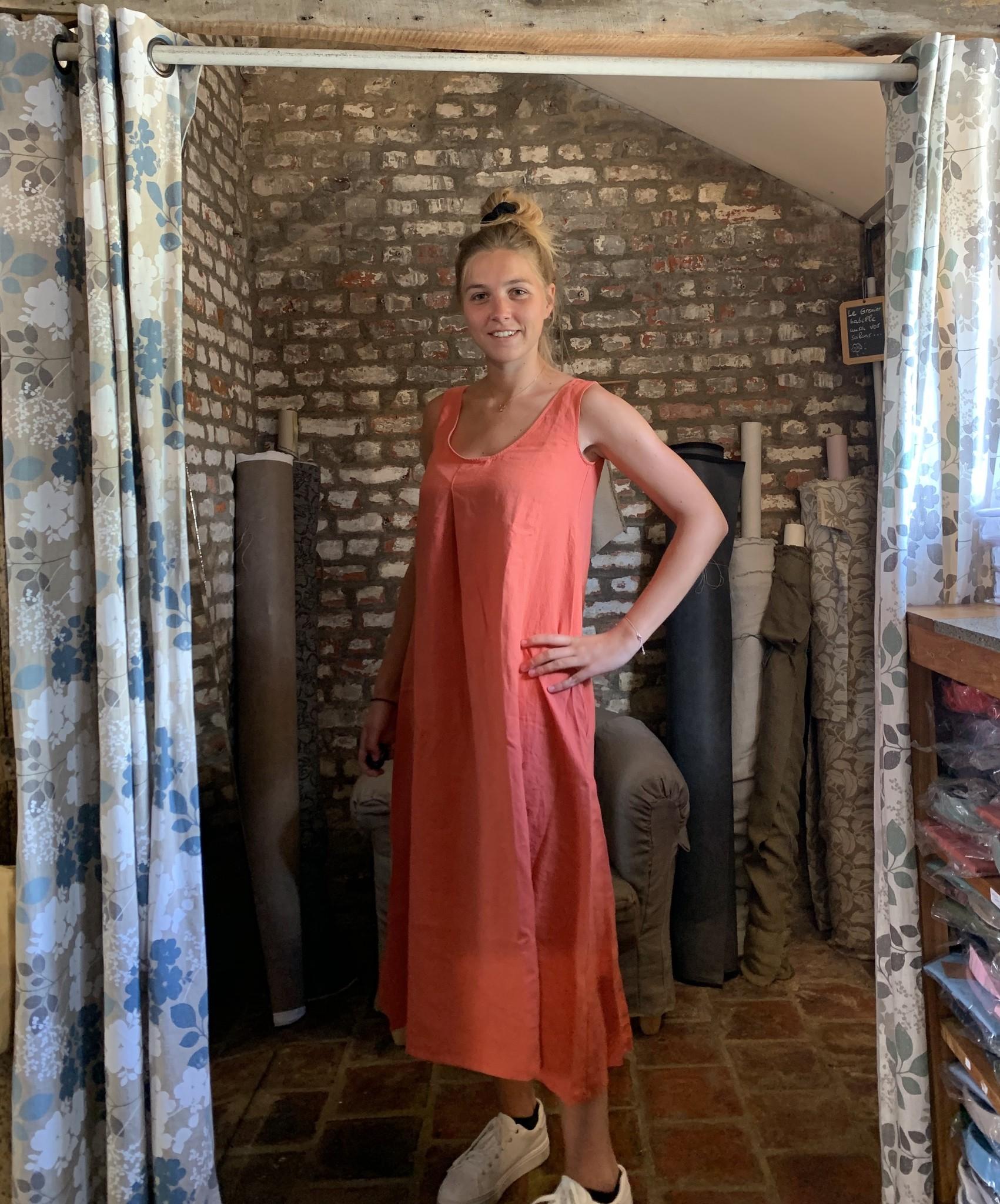Le grenier du lin Robe Indira Abricot