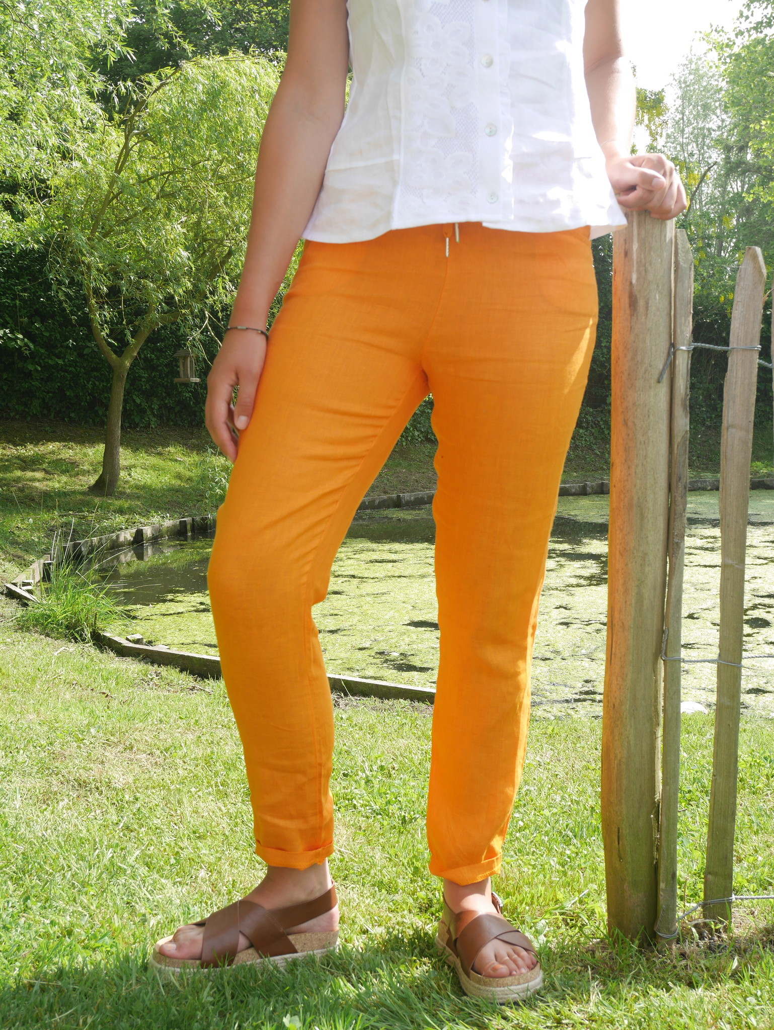 Pantalon cigarette orange