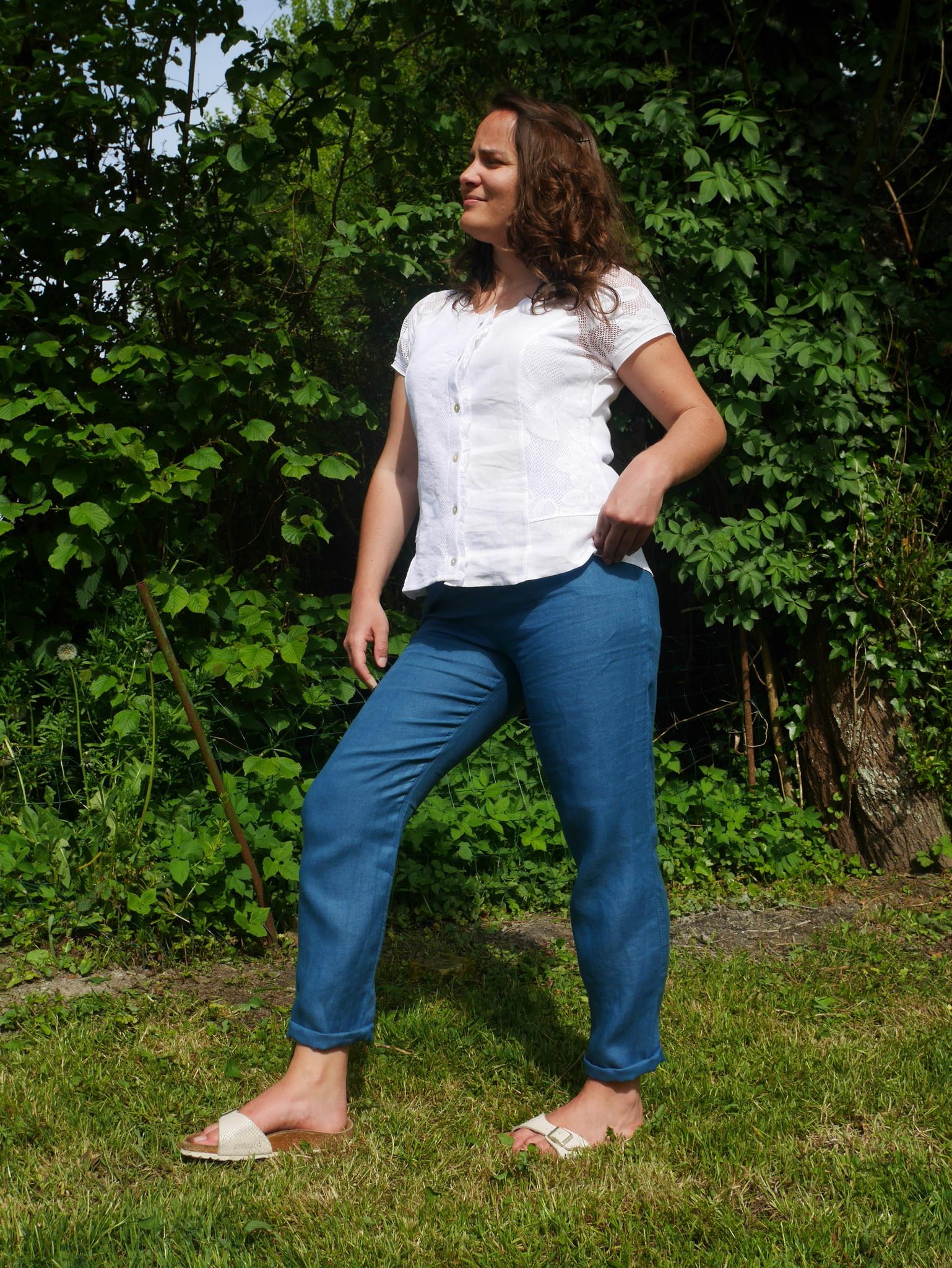 Pantalon cigarette bleu canard