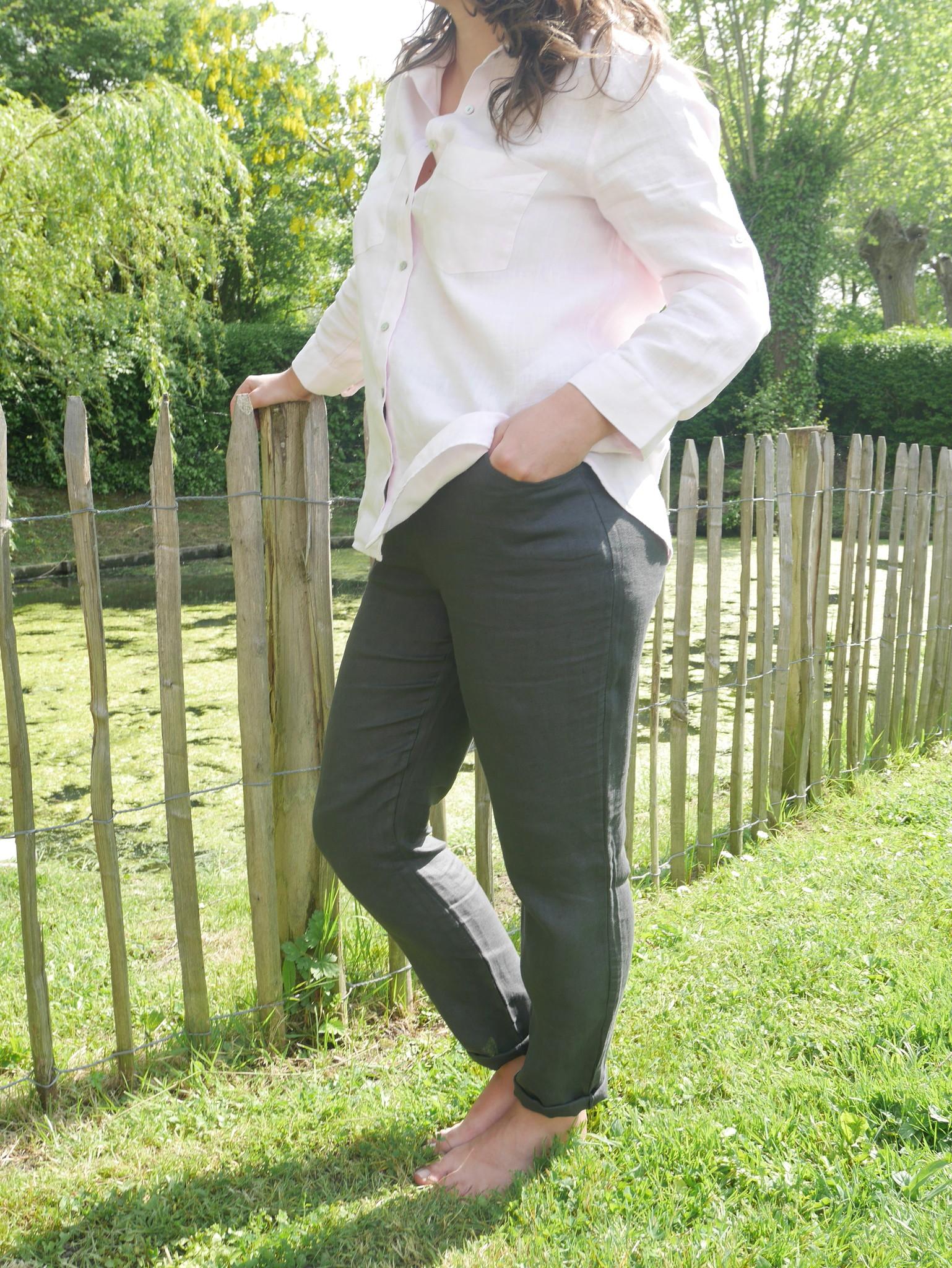Pantalon cigarette gris foncé