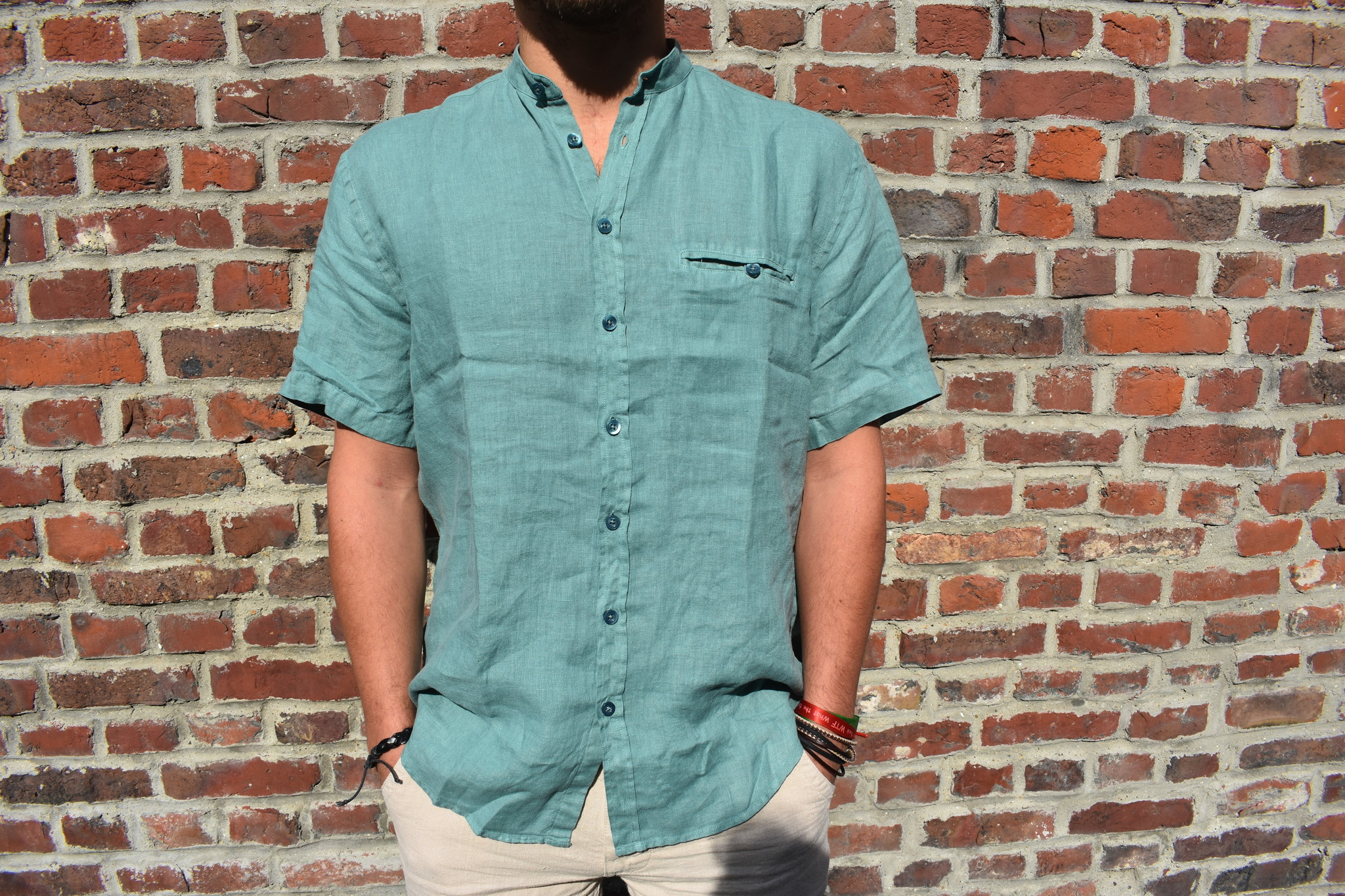 Green short-sleeved officer collar shirt