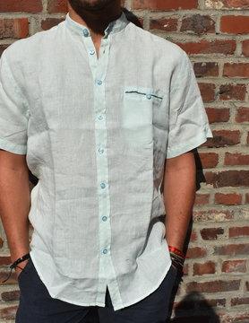 Water green short-sleeved officer collar shirt