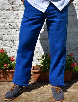 Le grenier du lin Broek in blauw linnen
