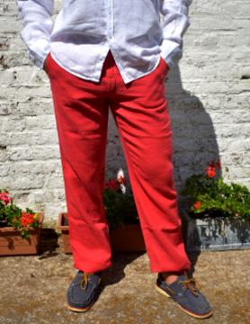 Le grenier du lin Pantalon en lin rouge