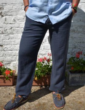 Le grenier du lin Pantalon en lin bleu marine