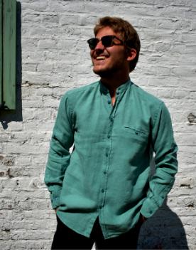 Shirt met lange mouwen en groene officierskraag