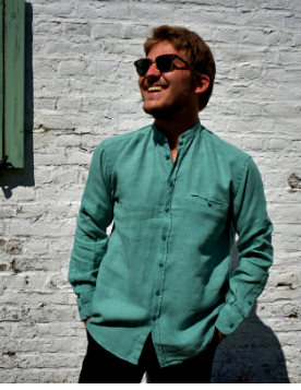 Long sleeved shirt with green officer collar