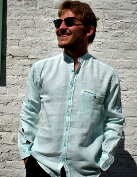 Long sleeved shirt with jade officer collar
