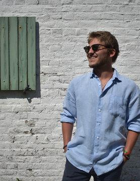 Le grenier du lin Chemise manches longues bleue ciel