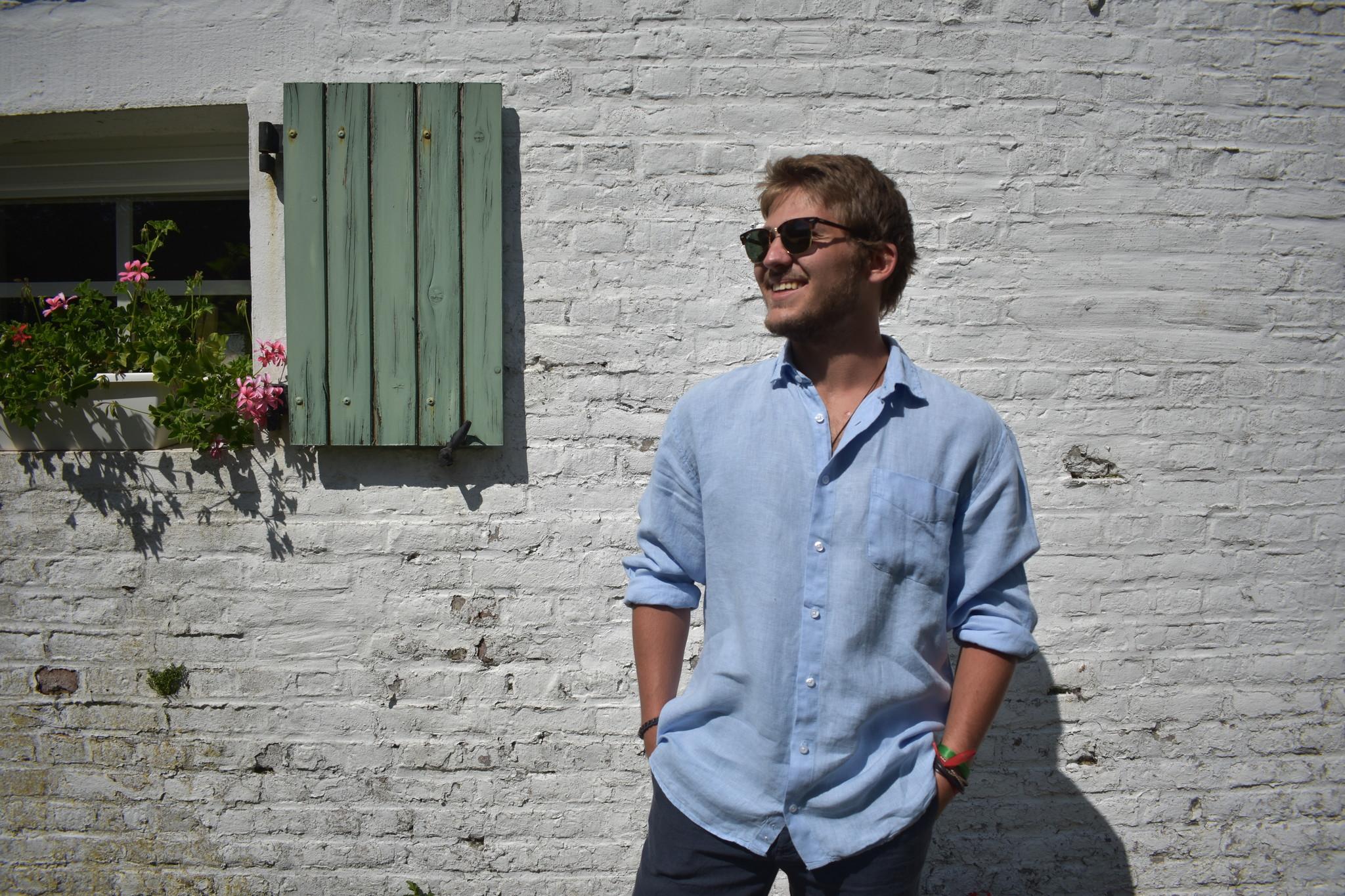 Le grenier du lin Lichtblauw shirt met lange mouwen