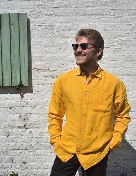 Le grenier du lin Chemise manches longues jaune