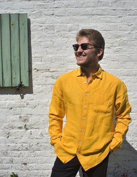 Le grenier du lin Geel shirt met lange mouwen