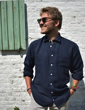 Le grenier du lin Long sleeved navy shirt