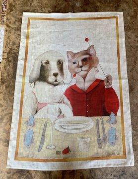 """Torchon """"dîner chien et chat"""""""
