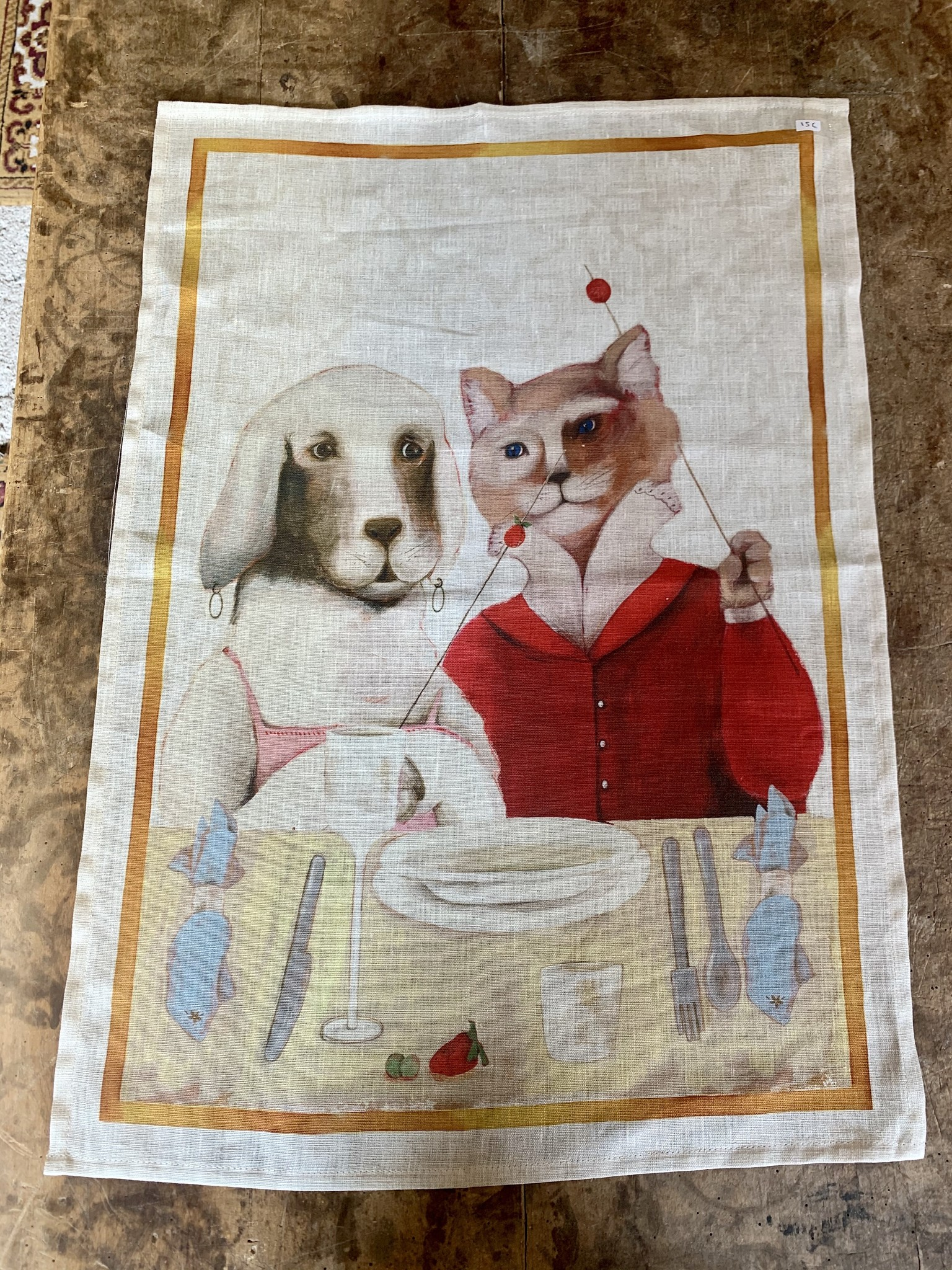 "Tea towel ""dinner dog and cat"