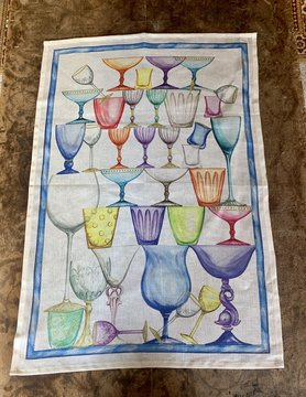 "Tea towel ""Glasses tower blue"