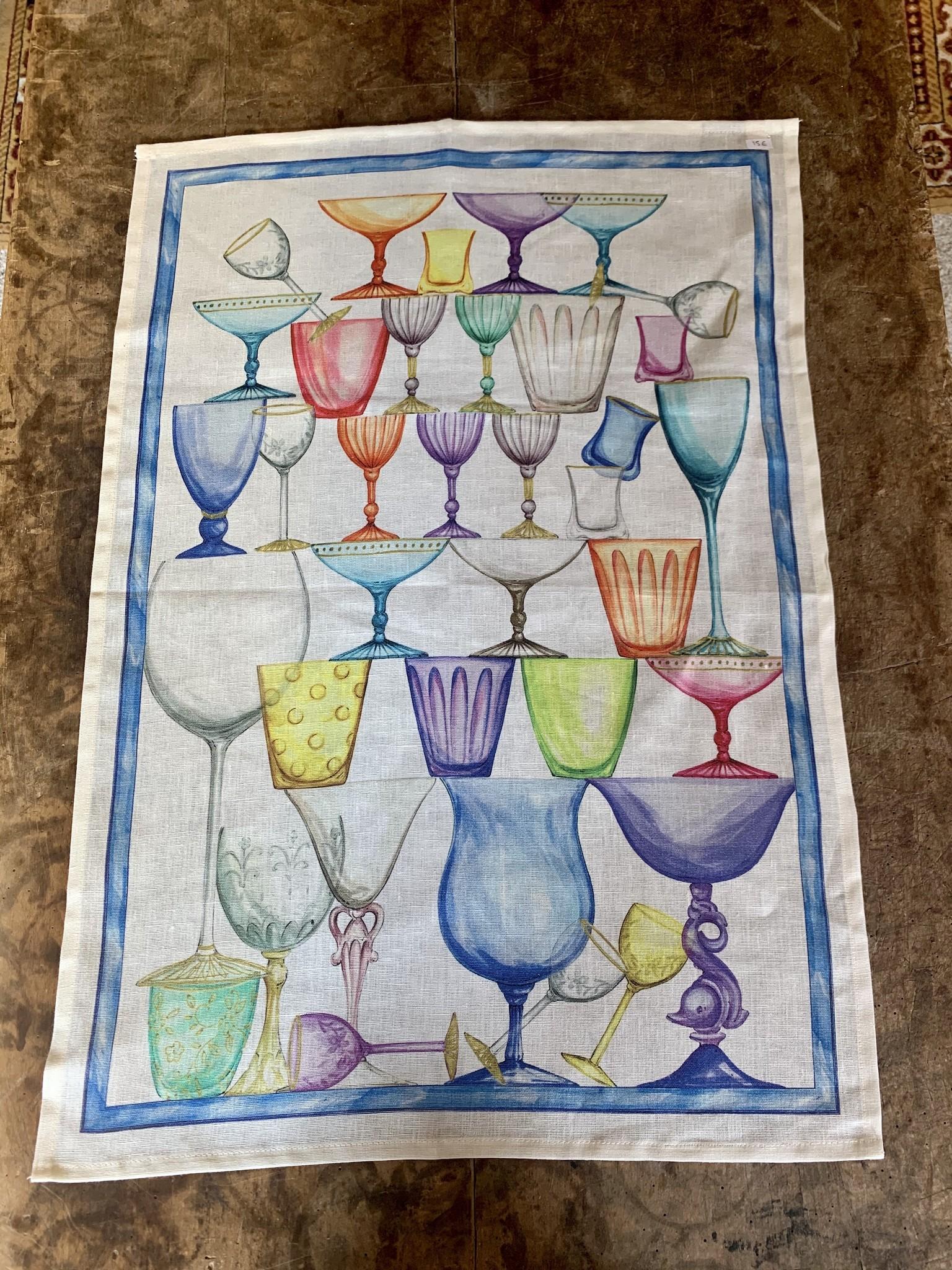 "Tea towel ""Glasses tower blue"