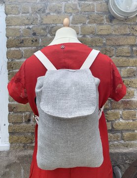 Le grenier du lin Sac à dos en lin gris clair