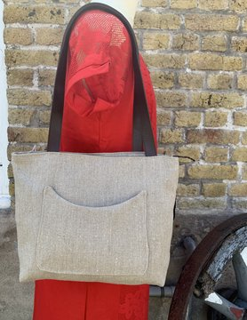 Le grenier du lin Beige linen bag with front pocket