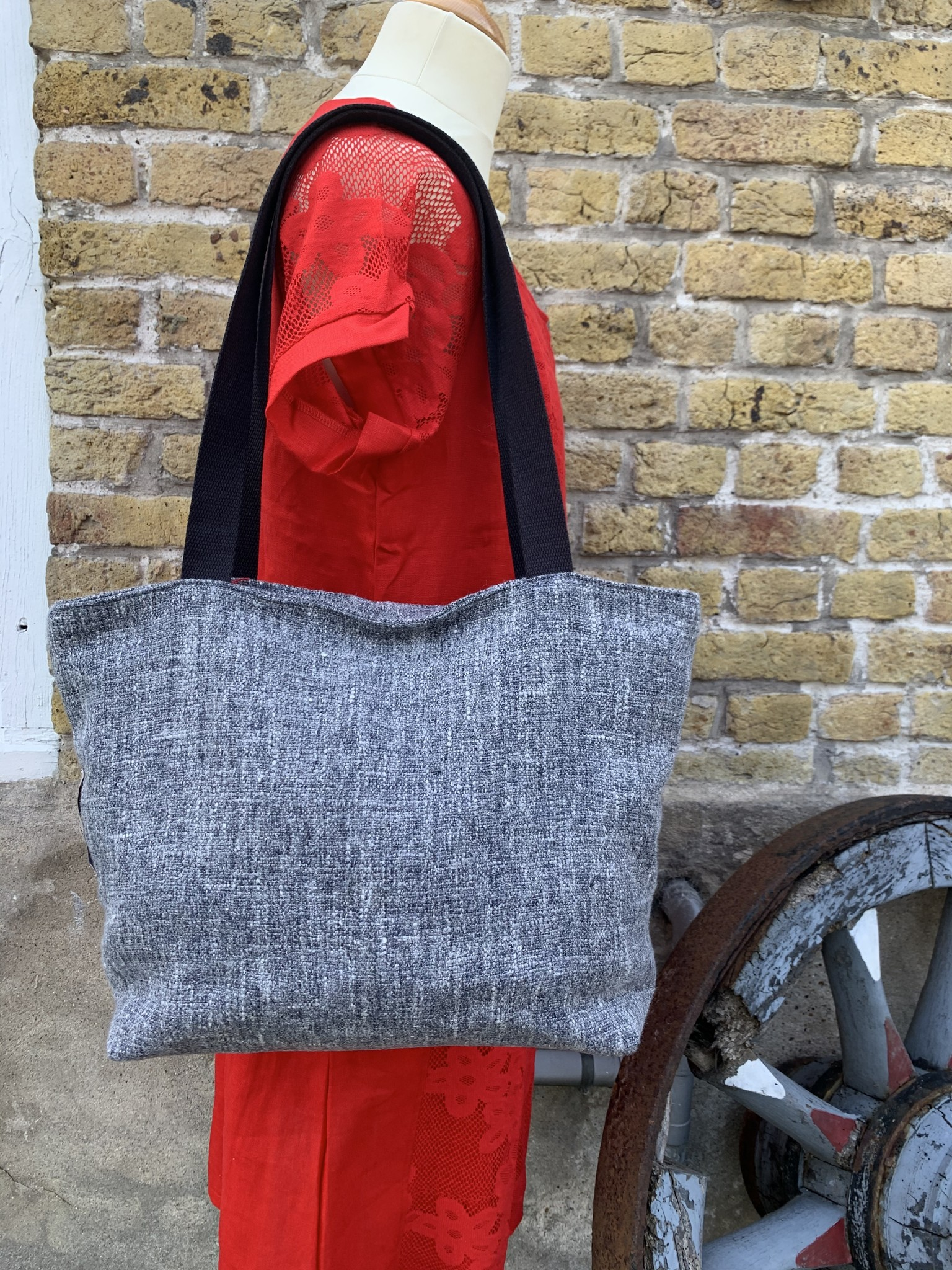 Le grenier du lin Heather grey bag