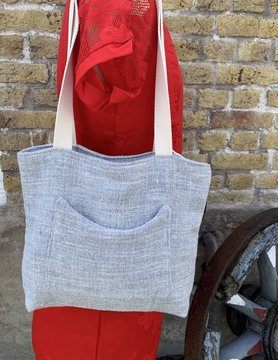 Le grenier du lin Light grey heather bag