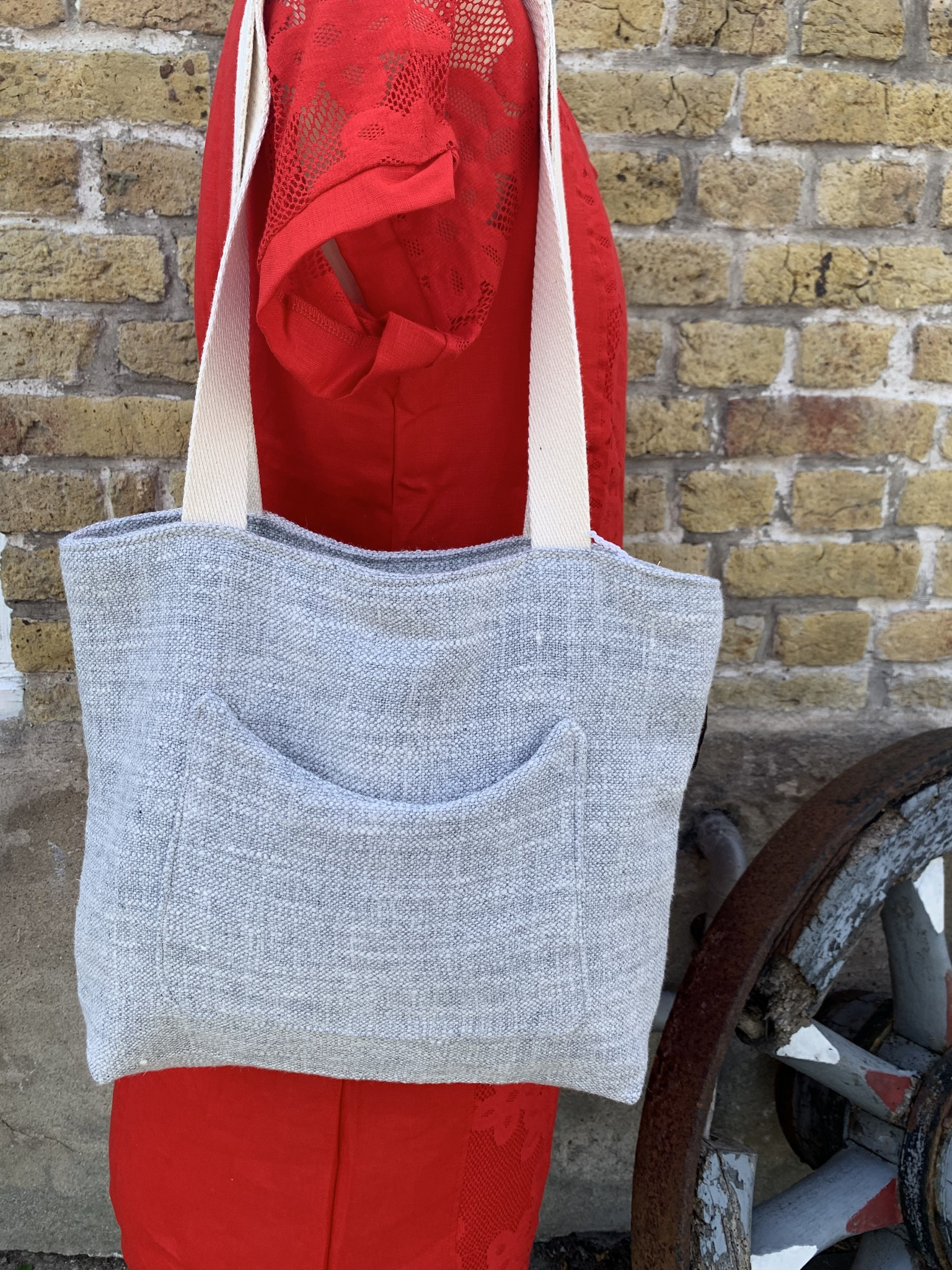 Le grenier du lin Light grey heather bag
