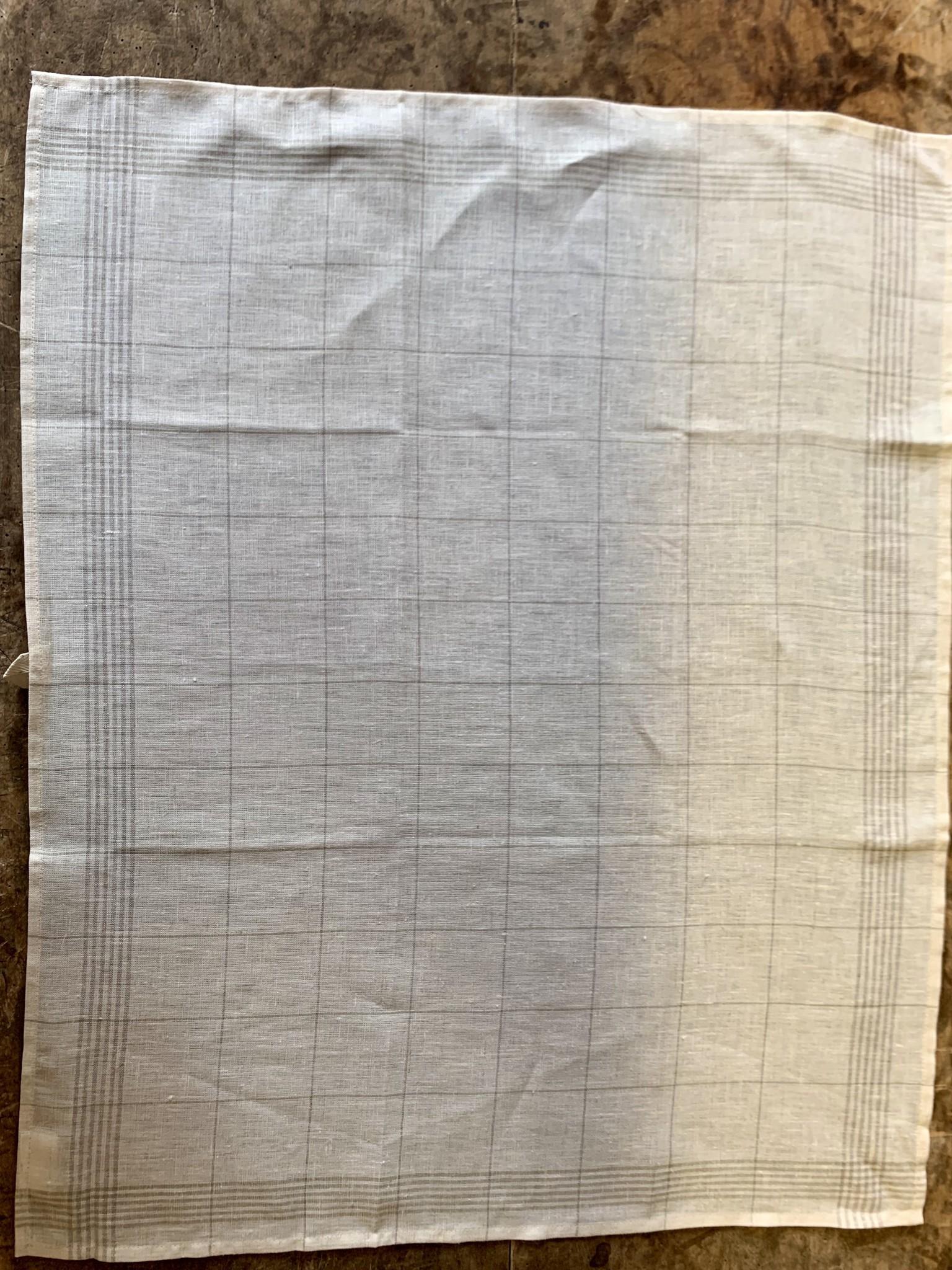 Unbleached check tea towel