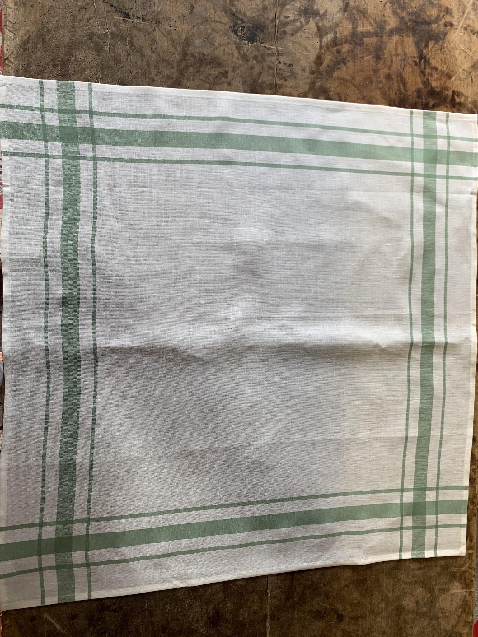 Torchon Libeco blanc contour vert
